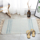 Vintage hand-woven rug, made of cotton and linen, white with geometric figures and blue lines