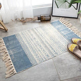 Vintage hand-woven rug, made of cotton and linen, blue with beige geometric figures