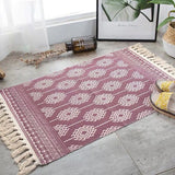 Vintage hand-woven rug, made of cotton and linen, light red with beige geometric figures