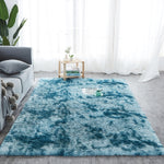 Fluffy modern Rug navy blue pattern