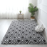 fluffy rug with geometric patterns