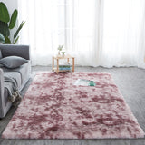 fluffy light red rug