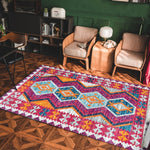 vintage handmade rug model 14 with geometric patterns