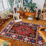 vintage handmade rug model 7 with geometric patterns