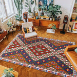 vintage handmade rug model 13 with geometric patterns