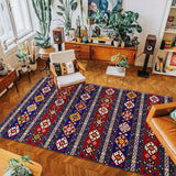 vintage handmade rug model 5 red and blue color with lines geometric patterns