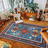 vintage handmade carpet model 4 Blue and dark red color with geometric patterns
