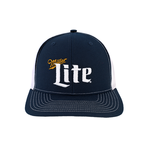 Miller Lite Logo White and Navy Ball Cap Front