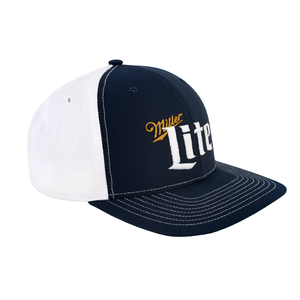 Miller Lite Logo White and Navy Ball Cap Side View