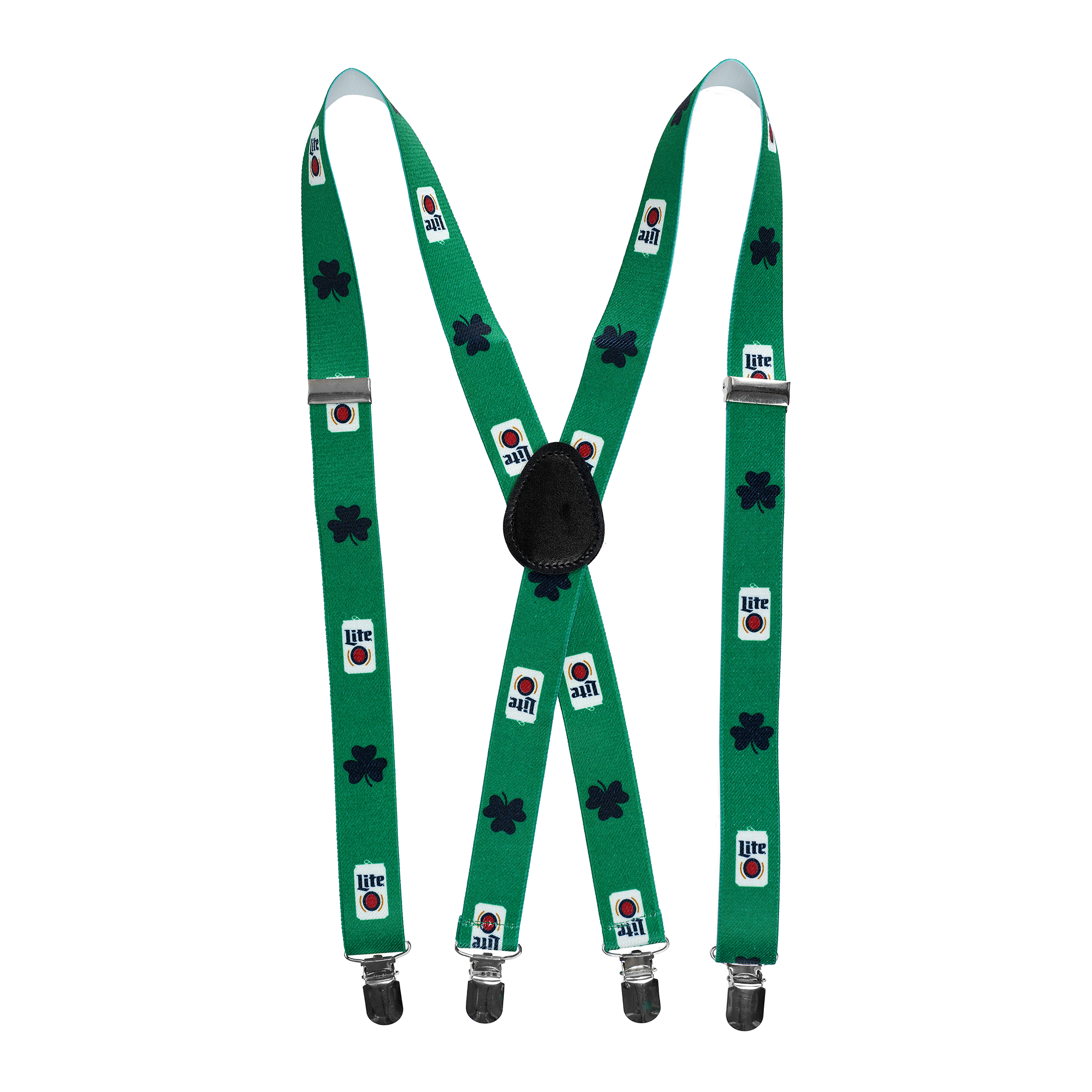MILLER LITE CAN AND CLOVER SUSPENDERS