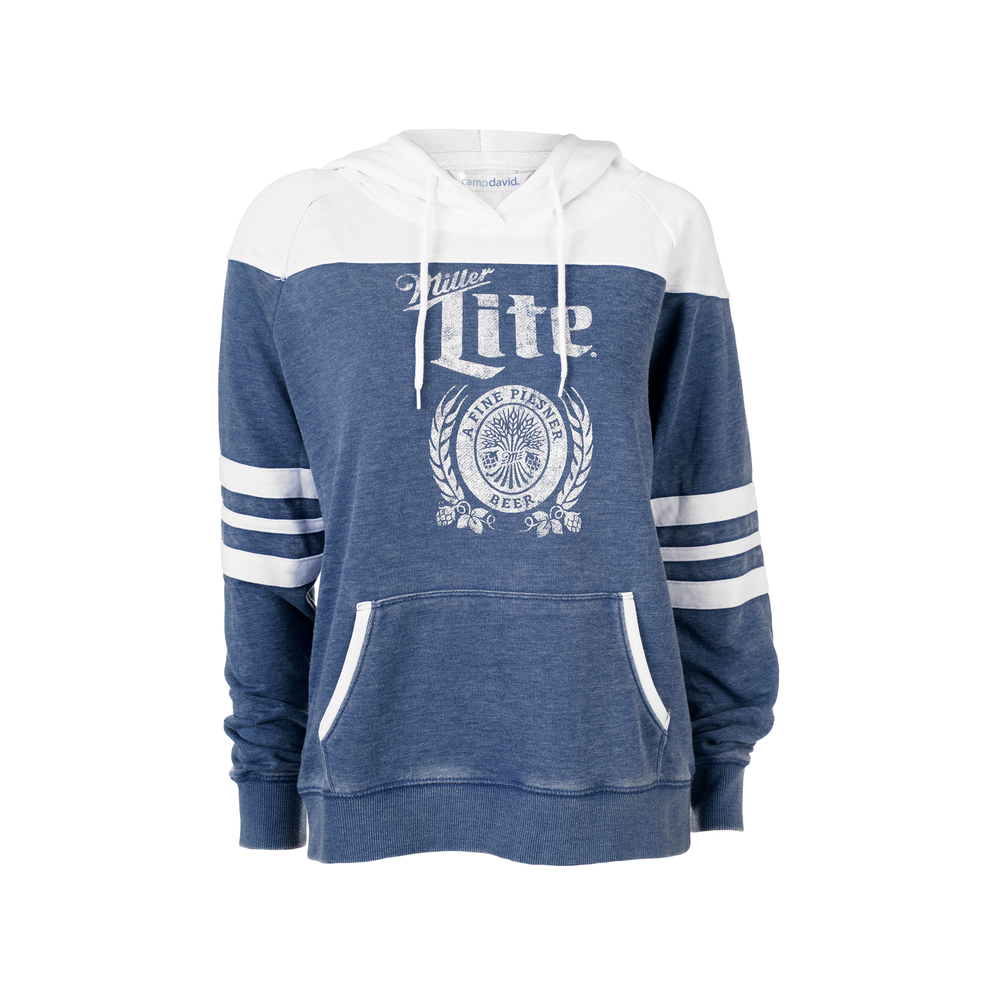WOMENS MILLER LITE WHITE/NAVY COLOR BLOCK HOODIE