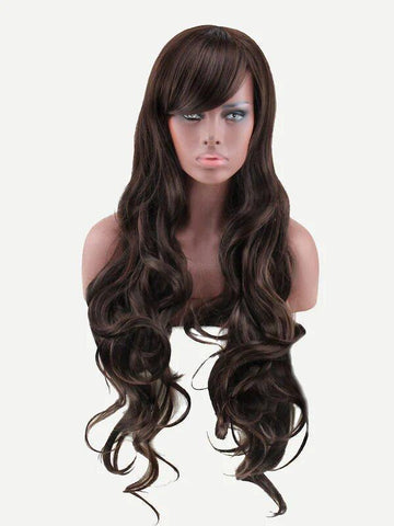 Image of Wave Wig With Bangs-Coffee