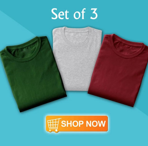 Image of Copy of Solid T-Shirt For Men (Pack of 3)