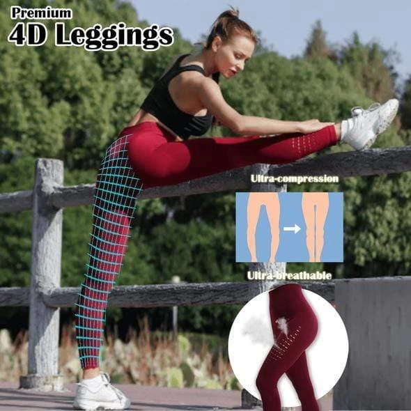Breathable Squat-proof 4D Leggings (Pack of 3 - Black+Grey+Blue)