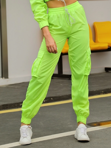 Image of Double Crazy Neon Green Cargo Pants