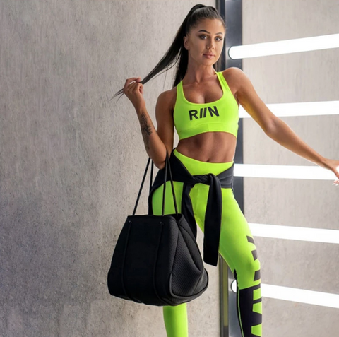 Image of Neon Color High Waist Leggings Set (Packs of 3)