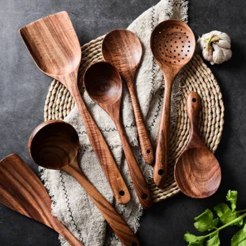 Image of Eco-Friendly Teak Wood Kitchen Spoon Set