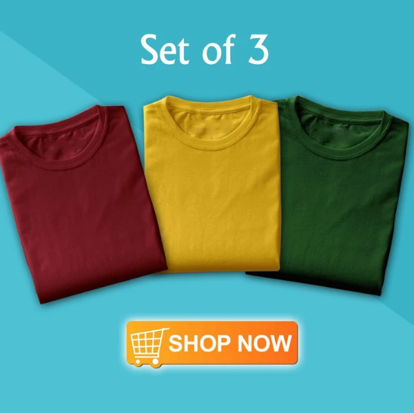 Copy of Solid T-Shirt For Men (Pack of 3)