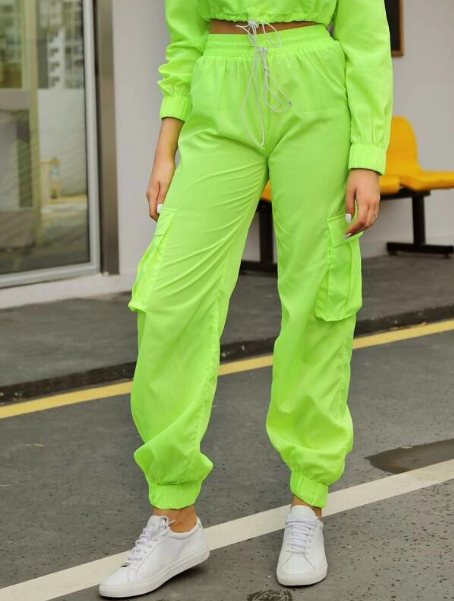 Double Crazy Neon Green Cargo Pants