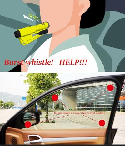 3 in 1 Car Escape Tool, Seat-belt Cutter / Window Breaker / Whistle