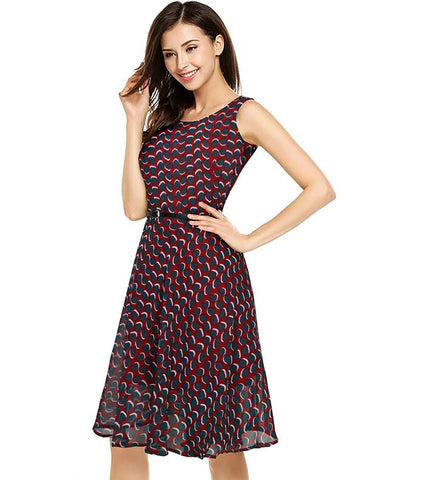 Image of Georgette Full Stitched Western Dress Red