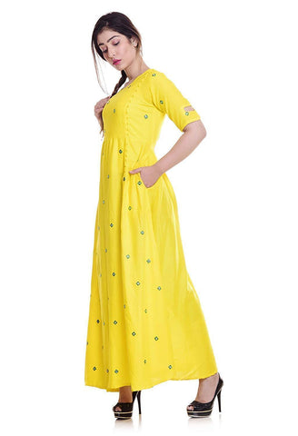 Image of Long Embroidered Kurti, Yellow