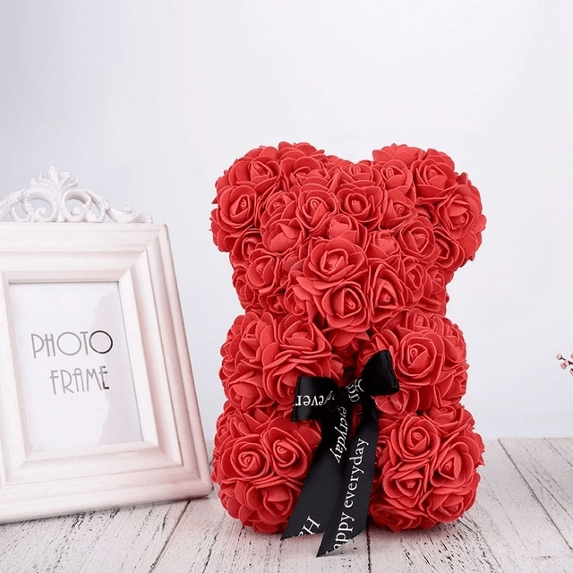 THE LUXURY ROSE TEDDY BEAR + 24K Gold Love Rose Photo frame Stand