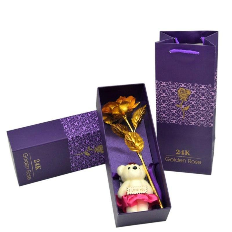 24K Gold Rose With Teddy Bear (I Love You) Gift Box