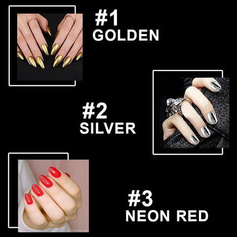 Image of Mirror Nail Polish (Pack of 3 - Silver, Gold, Neon Red)