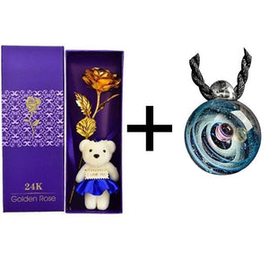 24K Gold Rose + Teddy Bear + Silver Pendant Gift Box