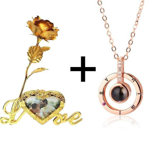 Image of I Love You in 100 Languages Pendant + 24K Gold Rose Love Stand Gift Box