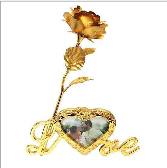24k Gold Rose with Photo Framed Love Stand