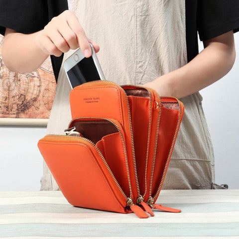 Image of Crossbody Cell Phone Shoulder Bag (Orange)