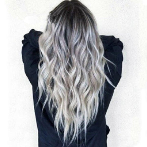 2020 Fashion Gradient Gray Long Wavy Wig Grey Hair
