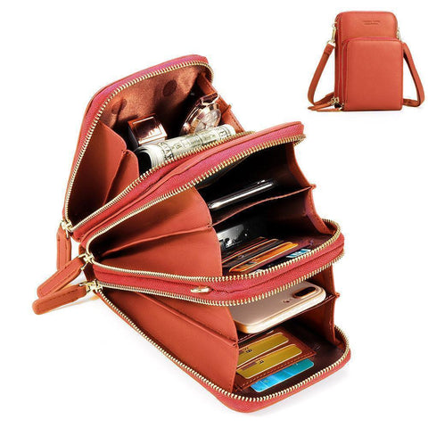 Crossbody Cell Phone Shoulder Bag (Orange)