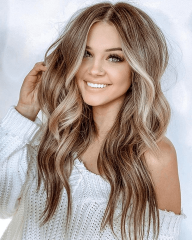 Image of Honey middle long wave hair