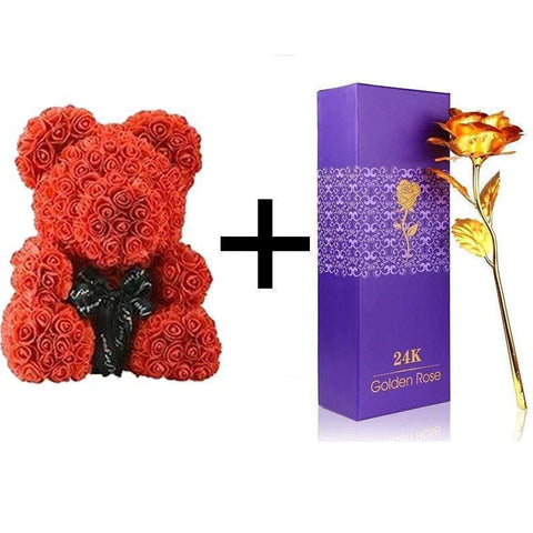 Image of THE LUXURY ROSE TEDDY BEAR + 24K Gold Love Rose