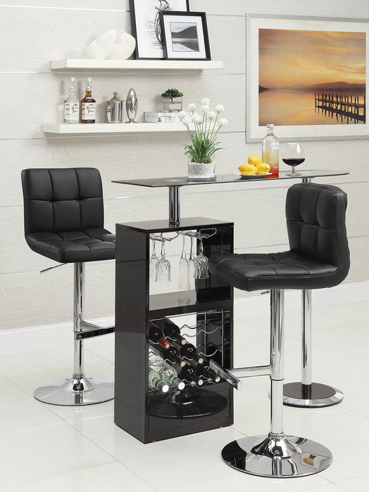 G102554 Contemporary Black and Chrome Adjustable Bar Stool image