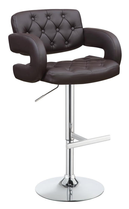 G102556 Contemporary Brown and Chrome Bar Stool image