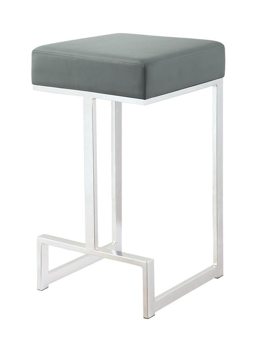 G105252 Contemporary Chrome and Grey Counter-Height Stool image