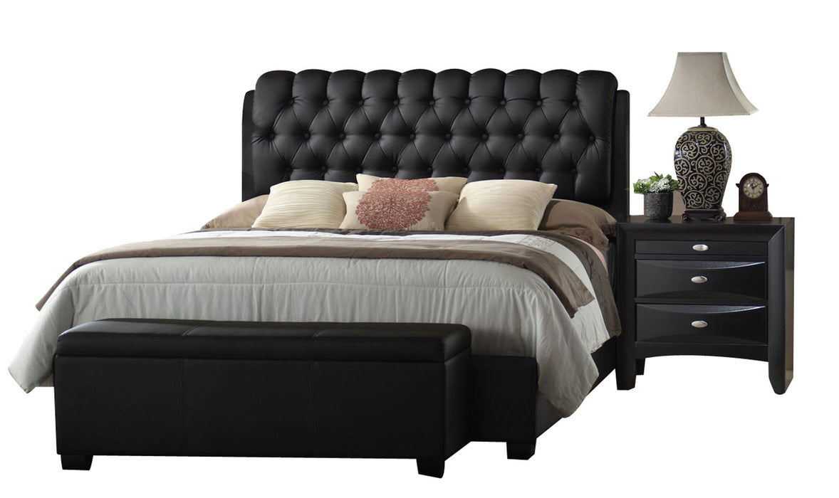 Ireland II Black PU Queen Bed
