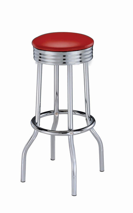 Cleveland Contemporary Red Bar-Height Stool image