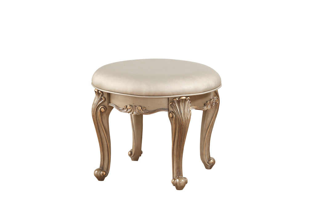 Orianne Champagne PU & Antique Gold Vanity Stool