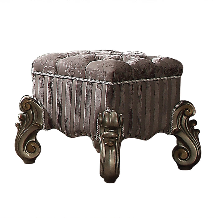Versailles Fabric & Antique Platinum Vanity Stool