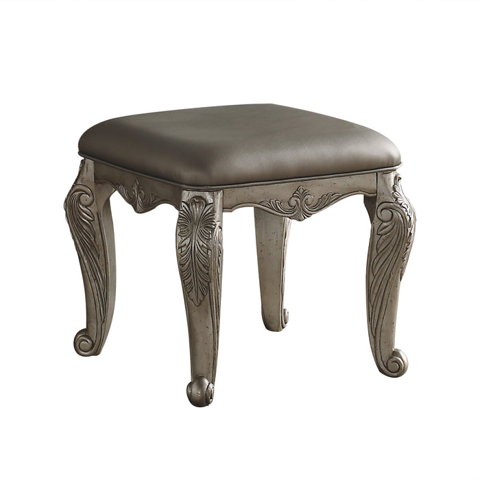 Northville PU & Antique Silver Vanity Stool