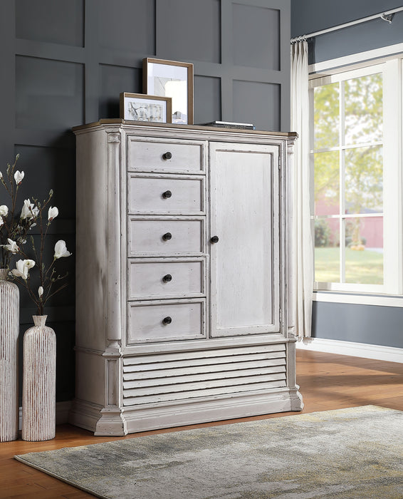 York Shire Antique White & Dark Charcoal Armoire