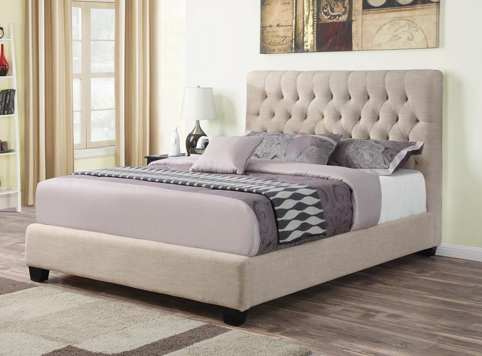 Chloe Transitional Oatmeal Upholstered Queen Bed image