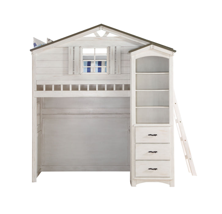 Tree House Weathered White & Washed Gray Loft Bed (Twin Size)