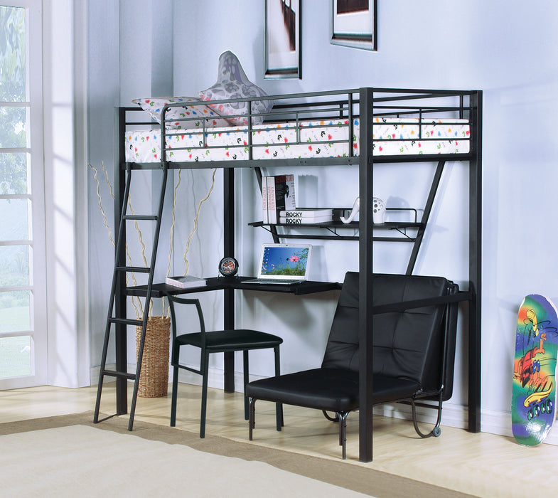 Senon Silver & Black Loft Bed & Desk