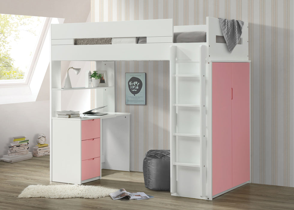 Nerice White & Pink Loft Bed
